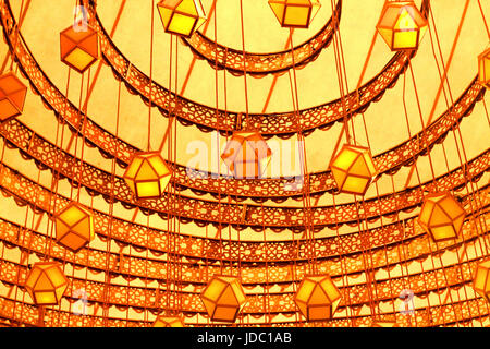 a symmetrical and marvelous  Interior decoration by paper lantern, Laltain lights for Diwali Hindus indian festival - Stock Photo