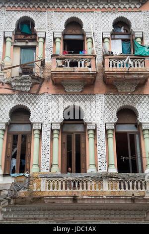 Colonial Building on Paseo del Prado, Centro Habana, Havana, Cuba - Stock Photo