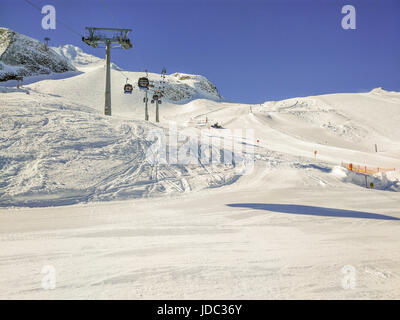 Ski Slopes With Gondola On Hintertux Glacier In Alps, Austria - Stock Photo