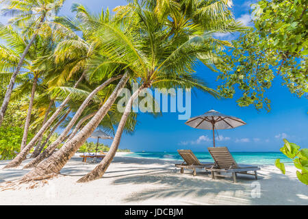 Beautiful beach landscape. Summer holiday and vacation concept. Inspirational tropical beach. Beach background banner - Stock Photo