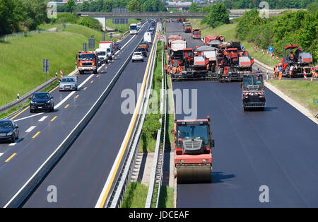 german autobahn under construction - Stock Photo