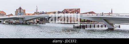 Inner harbor bridge for cyclists and pedestrians in Copenhagen, Denmark - June 15, 2017 - Stock Photo