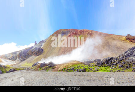 Wonderful icelandic nature landscape. Fjallabak Nature Reserve. Brennisteinsalda volcano. - Stock Photo