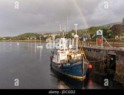 A trawler moored at the entrance to the Caledonian canal at Corpach - Stock Photo