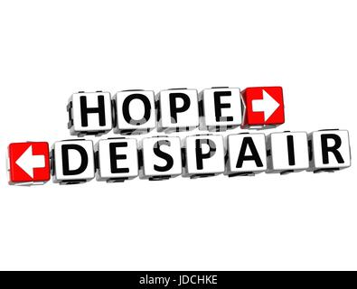3D Hope Despair Button Click Here Block Text over white background - Stock Photo