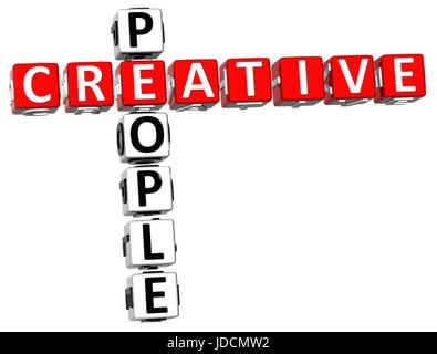 3D Creative People Crossword on white background - Stock Photo