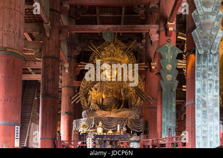 The bronze Buddha in the Hall of the Great Buddha in Nara Park and Tōdai-ji Temple, Nara Prefecture, Honshu Island, - Stock Photo
