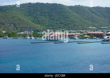 View of Charlotte Amalie Boat Harbour and Cruise Port, St. Thomas, US Virgin Islands, Caribbean - Stock Photo