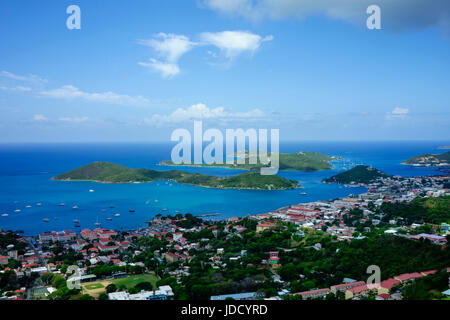 Elevated aerial view over Charlotte Amalie, St. Thomas, US. Virgin Islands, Leeward Islands, West Indies, Caribbean. - Stock Photo