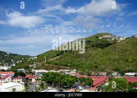 Cable car seen from cruise port at Charlotte Amalie, St Thomas, Caribbean, St. Thomas, USVI. - Stock Photo