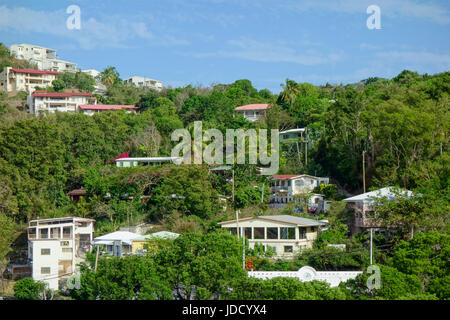 Long Bay, St. Thomas, US Virgin Islands with lush green mountains and yachts. - Stock Photo