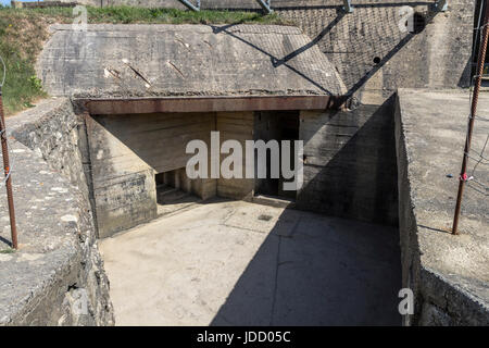 German WW2 Bunker on the Pointe Du Hoc, Normandy, France - Stock Photo