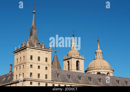 Detail of the facade of famous Monastery of El Escorial, Madrid, Spain. - Stock Photo
