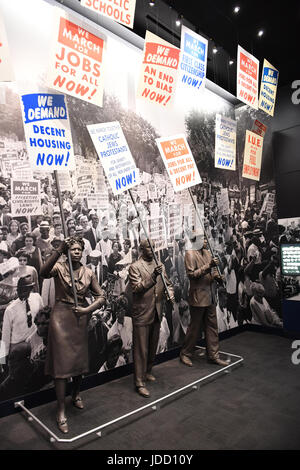 Memphis, TN, USA - June 9, 2017: Protesters as part of exhibit at the National Civil Rights Museum and site of the Assassination of Dr. Martin Luther