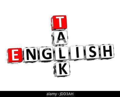 3D Crossword English Talk on white background - Stock Photo