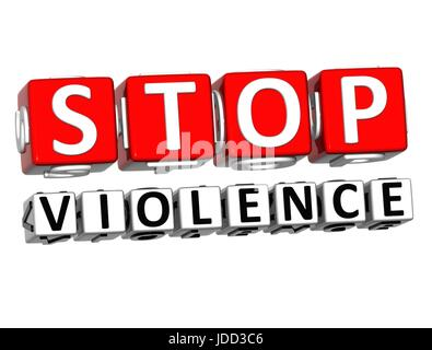 3D Block Red Text STOP VIOLENCE over white background. - Stock Photo