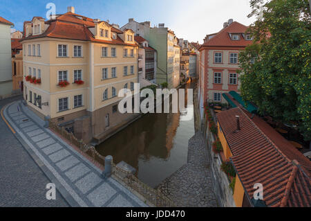 Kampa, the part of Prague situated in Lesser Town and Devil´s stream (Certovka), the view taken from Charles bridge - Stock Photo