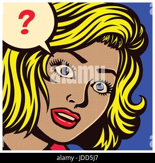 Pop art style comic book panel with confused, puzzled or perplexed woman and speech bubble with question mark vector - Stock Photo