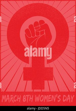 March 8th women's day celebration with female gender symbol and raised fist feminist protest vector card or logo - Stock Photo