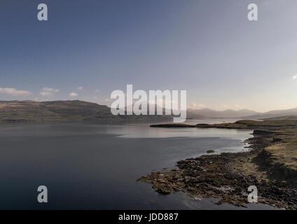 Aerial view of Loch Scridain, Mull, Inner Hebrides - Stock Photo