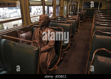 Memphis, TN, USA - June 9, 2017: Sculpture of Rosa Parks inside bus at the National Civil Rights Museum and the site of the Assassination of Dr. Marti