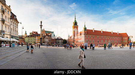 Warsaw (Warszawa) - the rebuilt old town, the royal castle and the Sigismund's Column on the Castle Square. Poland - Stock Photo