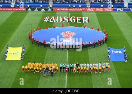 Sochi, Russia. 19th June, 2017. The German and Australian starting eleven line up for the national anthems ahead - Stock Photo