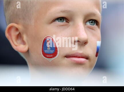 Sochi, Russia. 19th June, 2017. A boy attends the 2017 FIFA Confederations Cup Group B football match between Australia - Stock Photo