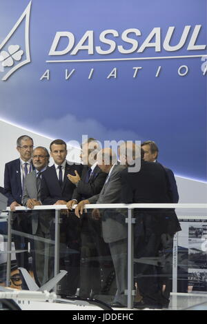Le Bourget, France. 19th June, 2017. Olivier Dassault (2nd L), a member of the French National Assembly, France's - Stock Photo