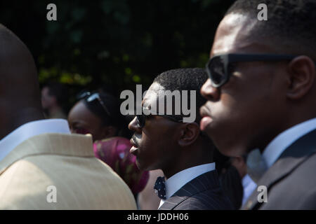 London, UK. 19th June, 2017. Members of the Nation of Islam during a Silent march for the launch of Justice for - Stock Photo