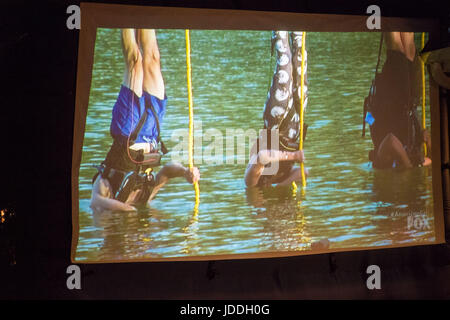 Merrick, New York, USA. 11th June, 2017. During American Grit Season 2 premiere, at left in blue swim trunks, CHRIS - Stock Photo