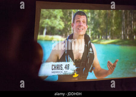Merrick, New York, USA. 11th June, 2017. CHRIS EDOM, American Grit TV contestant, 48, of Merrick, NY, is speaking - Stock Photo