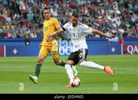 Sochi, Russia. 19th June, 2017. Sandro Wagner (R) of Germany shoots during the group B match between Australia and - Stock Photo
