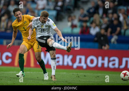 Sochi, Russia. 19th June, 2017. Timo Werner (R) of Germany shoots during the group B match between Australia and - Stock Photo