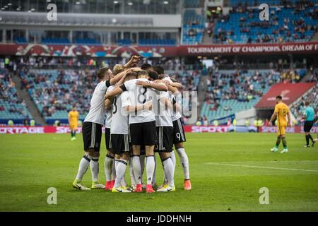 Sochi, Russia. 19th June, 2017. Players of Germany celebrate a goal during the group B match between Australia and - Stock Photo