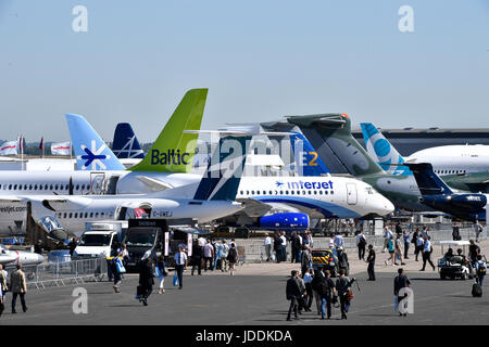Paris, France. 19th June, 2017. People visit the 52nd International Paris Air and Space Show at Le Bourget airport - Stock Photo