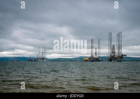 Oil rigs/Drilling Platforms on the Cromarty Firth, Scotland, awaiting repairs. - Stock Photo