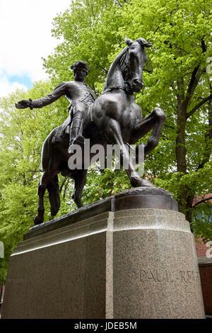 iconic paul revere on horseback statue Boston USA - Stock Photo