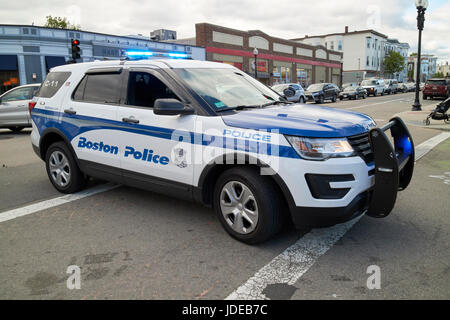 Boston police suv interceptor patrol car blocking traffic intersection USA - Stock Photo