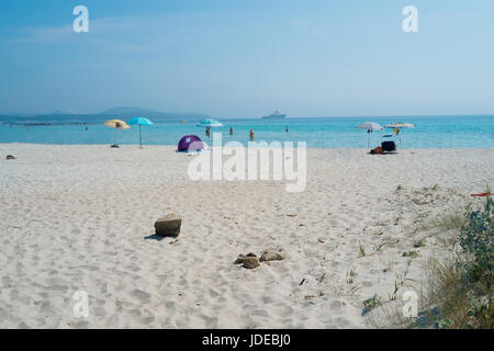 Rena Bianca beach on Emerald coast in North of Sardinia, Italy - Stock Photo
