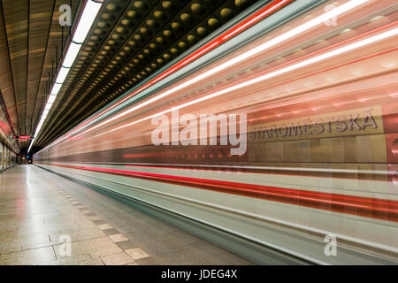 Staromestska metro station, Prague, Bohemia, Czech Republic - Stock Photo