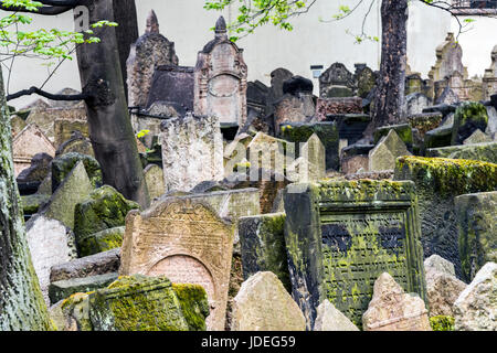 Gravestones in the Old Jewish Cemetery, Prague, Bohemia, Czech Republic - Stock Photo