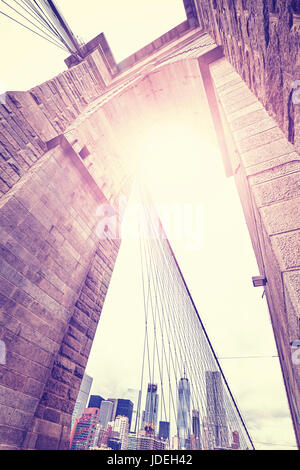 Vintage stylized wide angle picture of Brooklyn Bridge, New York City, USA. - Stock Photo