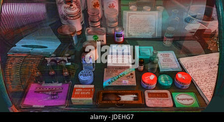 old fashioned medicines at a pharmacy - Stock Photo