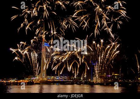 Spinnaker festive firework at night - Stock Photo
