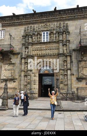 Parador de Santiago de Compostela in Galicia Northern Spain Hostal dos Reis Catolicos - Stock Photo