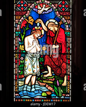 Life of Jesus, Baptism by John the Baptist, in River Jordan, stained glass window by Frederick Preedy, 1865, Gunthorpe, - Stock Photo