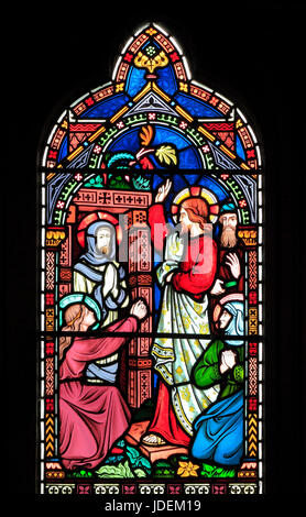 Life of Jesus,  Raising of Lazarus of Bethany, from the dead, stained glass window by Frederick Preedy, 1865, Gunthorpe, - Stock Photo