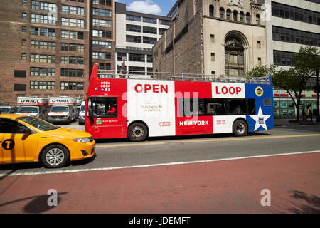 open loop guided tour double deck bus New York City USA - Stock Photo