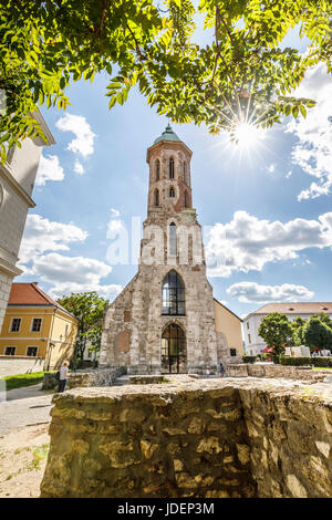 Iconic reconstructed tower and ruins of Church of St Mary Magdalene, Castle District, Budapest, capital city of - Stock Photo